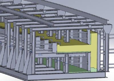 Vue 3D d'un moule à rayon variable de gradins courbes en béton