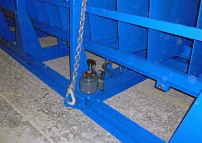 Détail de la pompe hydraulique pour le réglage de la hauteur