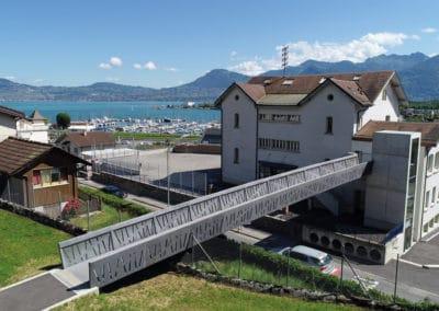 Fußgängerbrücke aus UHFB in Bouveret, Schweiz