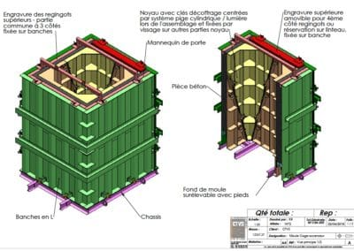 Zeichnung einer Aufzugschachtschalung