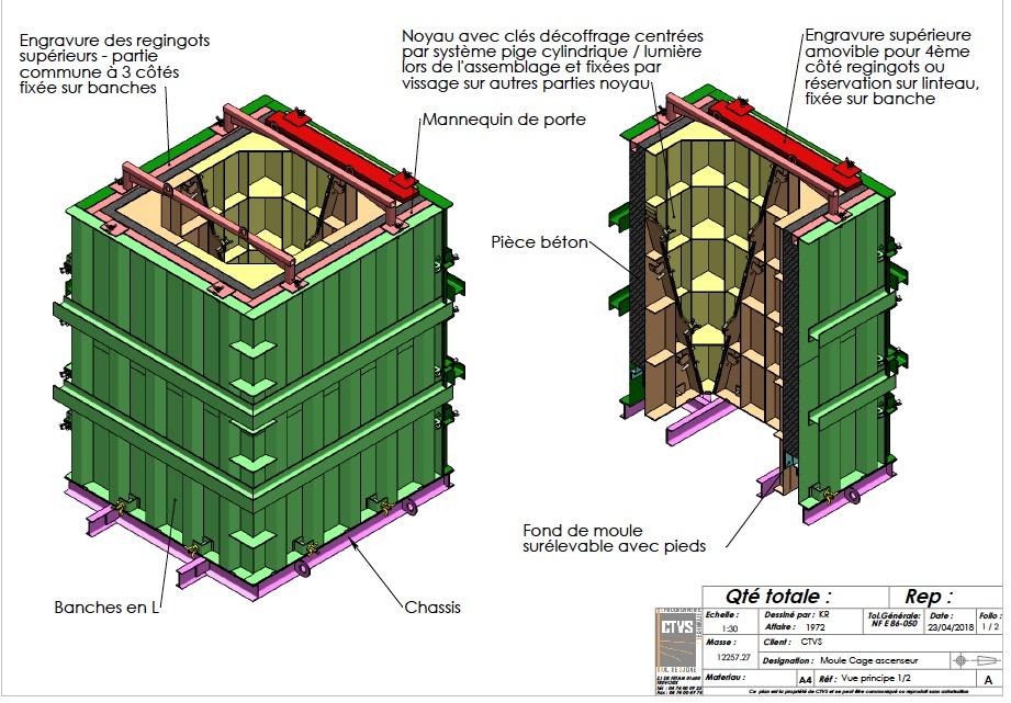 plan moule cage ascenseur